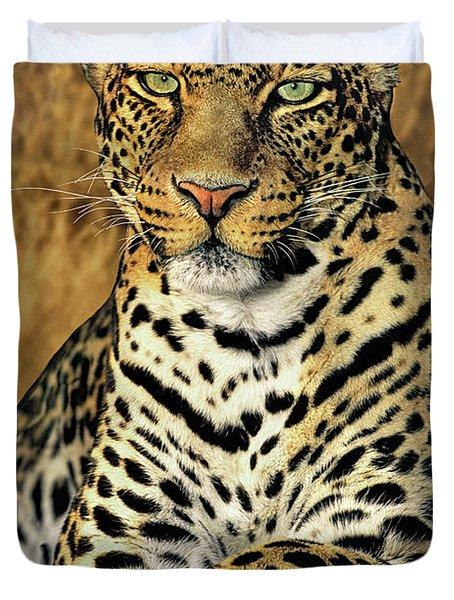 African Leopard Portrait Wildlife Rescue Duvet Cover