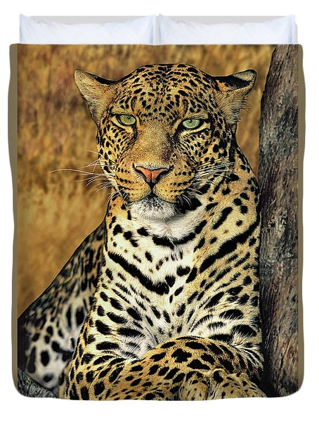 Duvet Cover featuring the photograph African Leopard Portrait Wildlife Rescue by Dave Welling