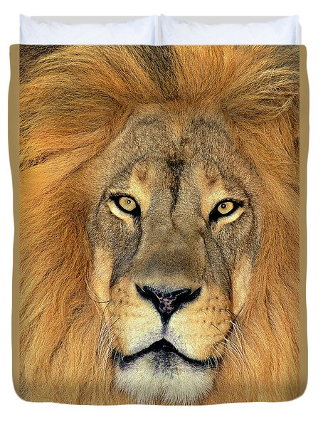 Duvet Cover featuring the photograph African Lion Portrait Wildlife Rescue by Dave Welling