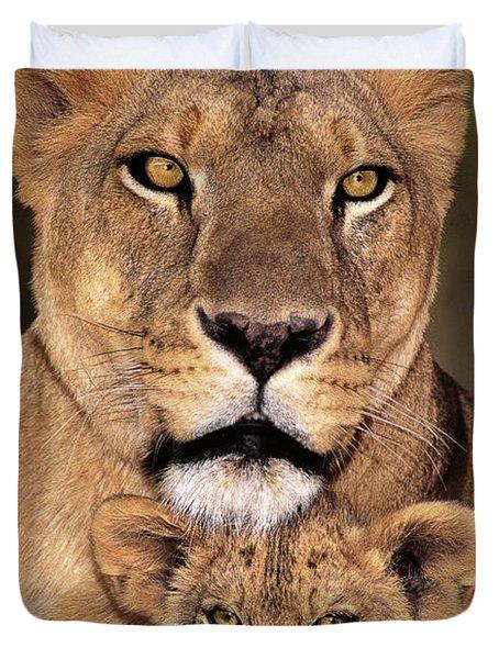 African Lions Parenthood Wildlife Rescue Duvet Cover
