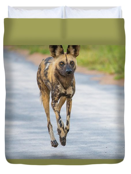 African Wild Dog Bouncing Duvet Cover