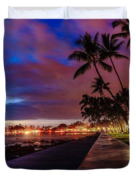 After Sunset At Kona Inn Duvet Cover