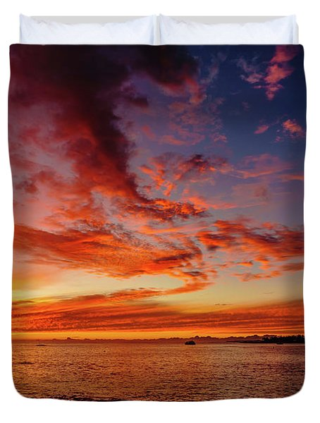 After Sunset Colors At Kailua Bay Duvet Cover