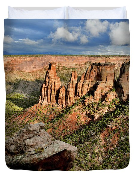 After The Storm Light On Colorado National Monument Duvet Cover