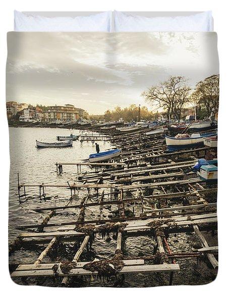 Ahtopol Fishing Town Duvet Cover