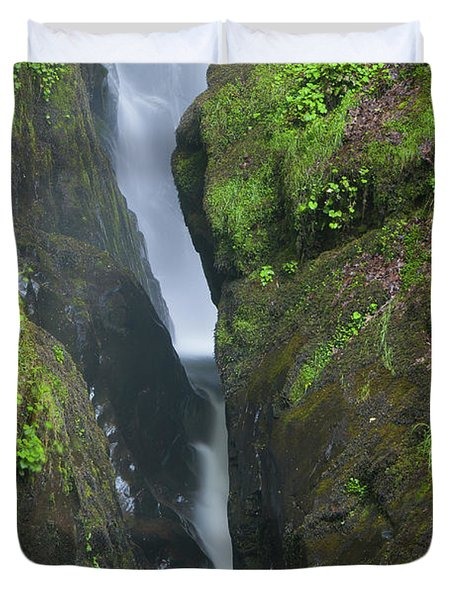 Aira Force Waterfall In The Lake District. England.  Duvet Cover