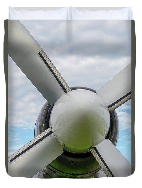 Duvet Cover featuring the photograph Aircraft Propellers. by Anjo Ten Kate