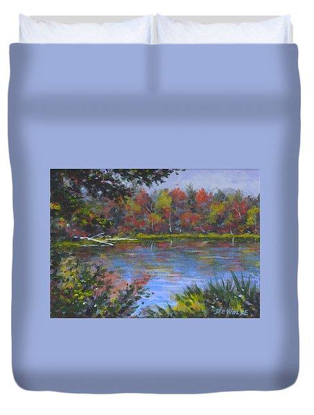 Algonquin Lake Sketch Duvet Cover