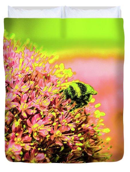 Allium With Bee 1 Duvet Cover