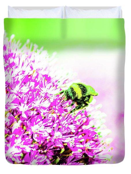 Allium With Bee 3 Duvet Cover