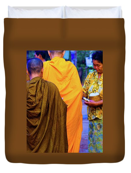 Alms For The Monks Duvet Cover