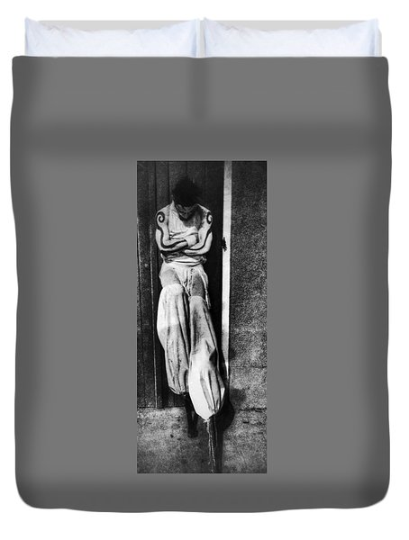 Duvet Cover featuring the photograph Alone by Amzie Adams