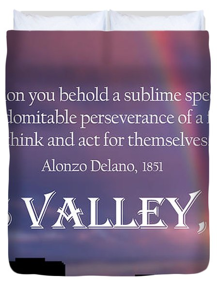Alonzo Delano Grass Valley Quote Duvet Cover