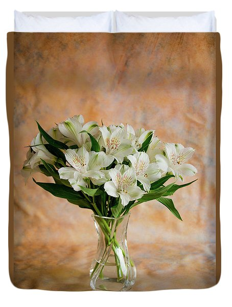 Alstroemeria Bouquet On Canvas Duvet Cover