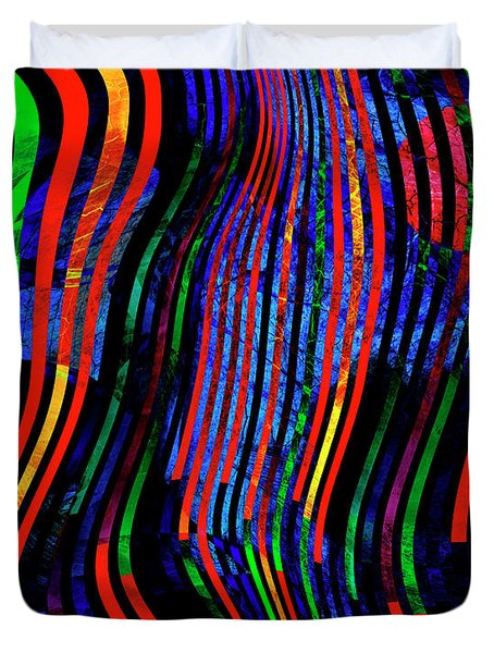 Duvet Cover featuring the digital art Always Between The Lines by Edmund Nagele