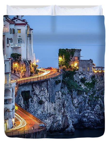 Amalfi Coast Italy Nightlife Duvet Cover