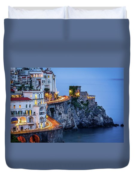 Duvet Cover featuring the photograph Amalfi Coast Italy Nightlife by Nathan Bush