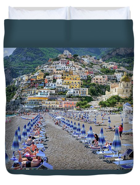 Duvet Cover featuring the photograph The Colorful Beaches And Village Of Amalfi Italy by Robert Bellomy