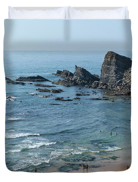 Amalia Beach From Cliffs Duvet Cover