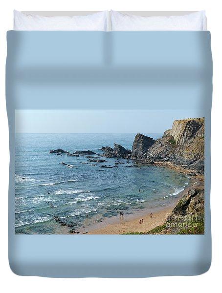 Amalia Beach From Cliffs Duvet Cover