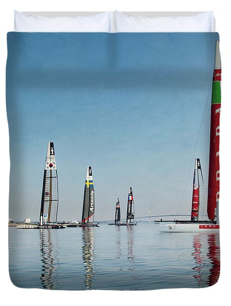 America Cup Boat Reflections Duvet Cover