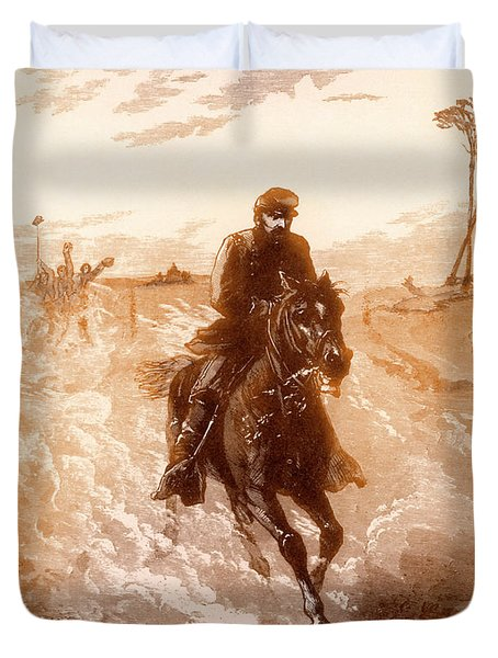 American Civil War Union General Philip Sheridan Rides To The Front Duvet Cover