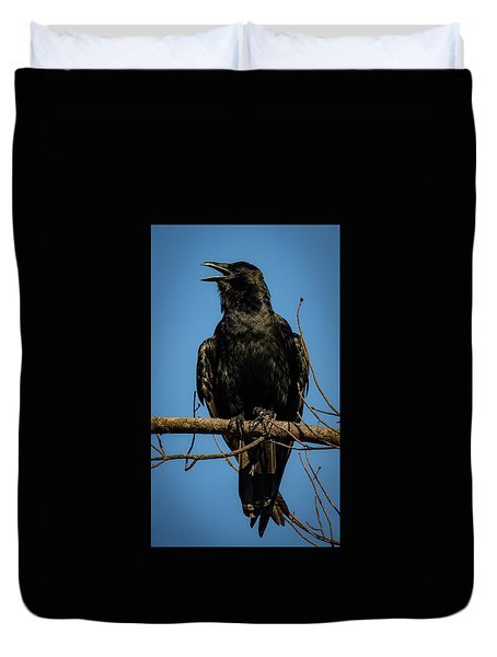 Duvet Cover featuring the photograph American Crow by Lora J Wilson