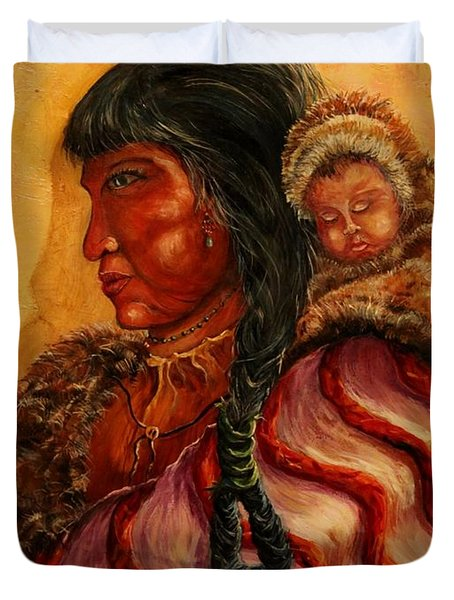 American Indian Mother And Child Duvet Cover