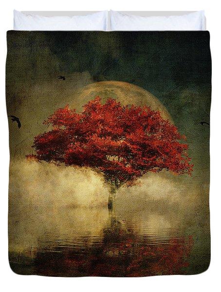 Duvet Cover featuring the digital art American Oak With Full Moon by Jan Keteleer