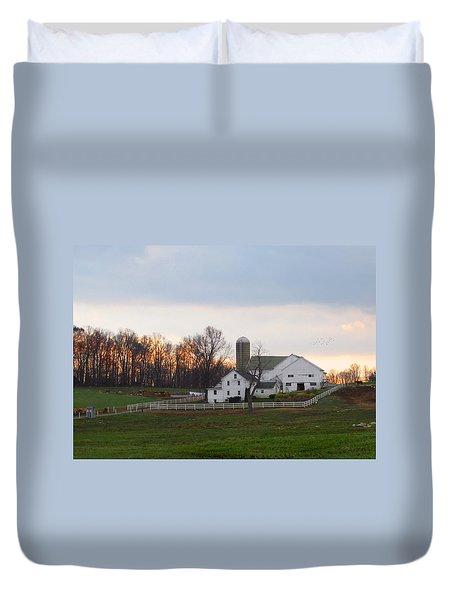 Amish Farm At Dusk  Duvet Cover