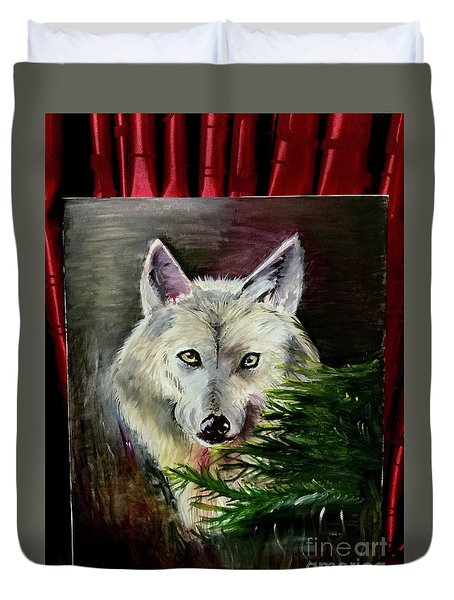 An Arctic Wolf Seeing Through The Soul Duvet Cover