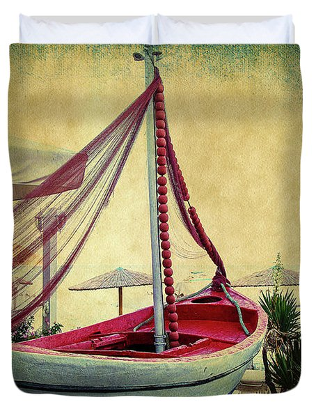 Duvet Cover featuring the photograph an Old Boat by Milena Ilieva