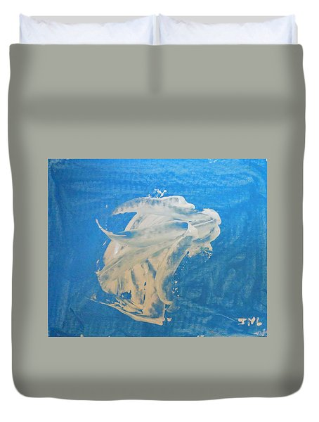 Angel And Dolphin Riding The Waves Duvet Cover