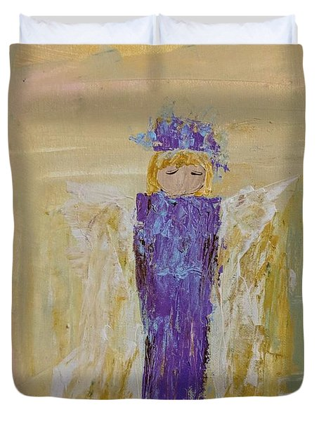 Angel Girl With A Unicorn Duvet Cover
