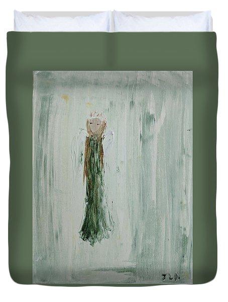 Angel In Green Duvet Cover