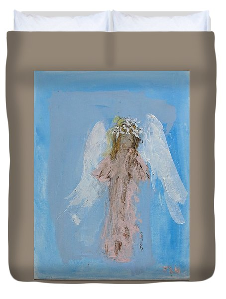 Angel With A Crown Of Daisies Duvet Cover