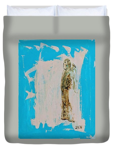 Angel With His Dog Wings Duvet Cover