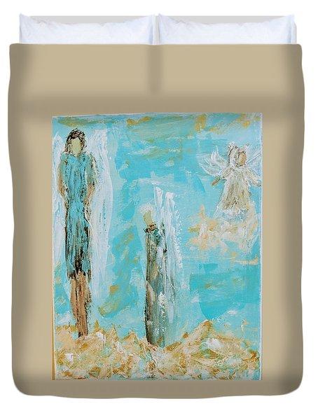 Angels Appear On Golden Clouds Duvet Cover