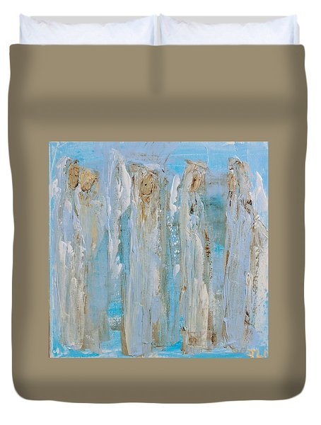 Angels Coming Together Duvet Cover