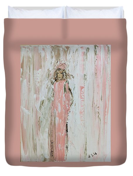 Angels In Pink Duvet Cover