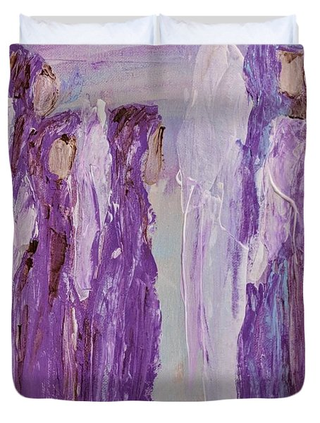 Angels In Purple Duvet Cover