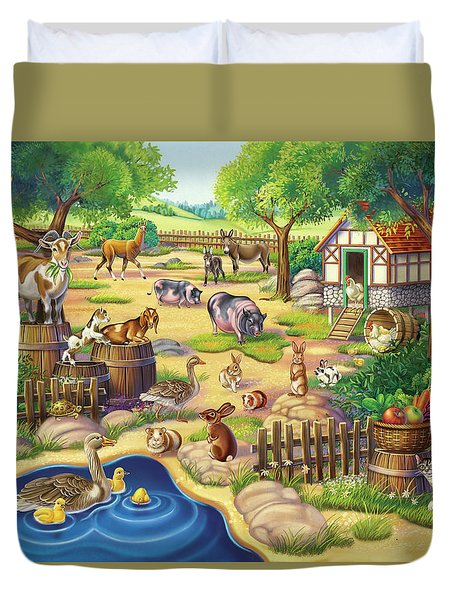 Animals At The Petting Zoo Duvet Cover