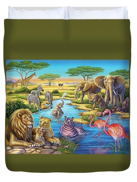 Animals In Africa Duvet Cover