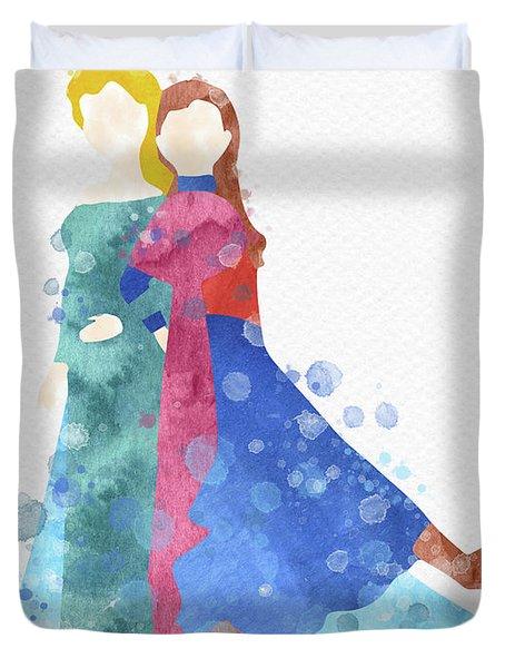 Anna And Elsa Watercolor Duvet Cover