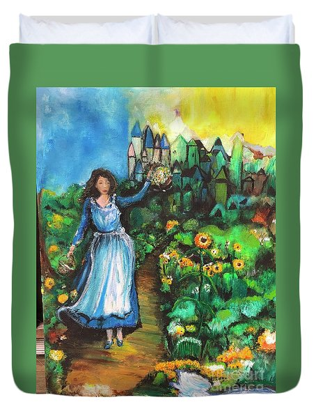 Duvet Cover featuring the photograph Annabelle And Sunflowers by Laurie Lundquist
