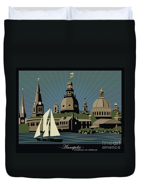 Annapolis Steeples And Cupolas Serenity With Border Duvet Cover