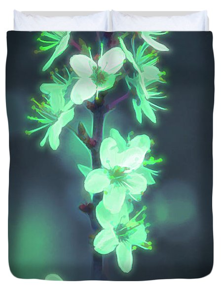 Another World - Glowing Flowers Duvet Cover