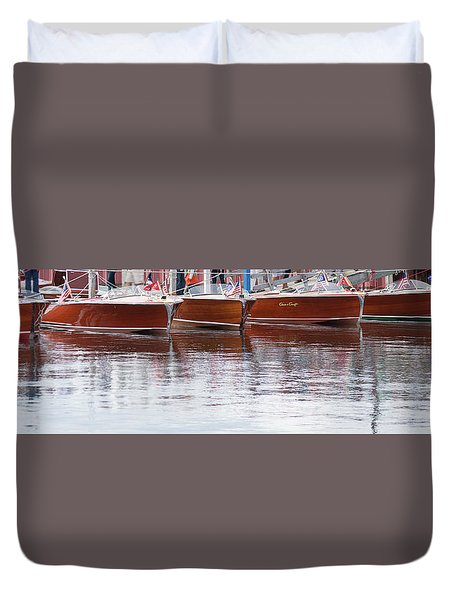 Antique Classic Wooden Boats In A Row Panorama 81112p Duvet Cover