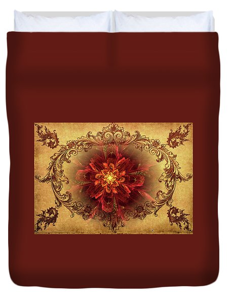 Antique Foral Filigree In Crimson And Gold Duvet Cover