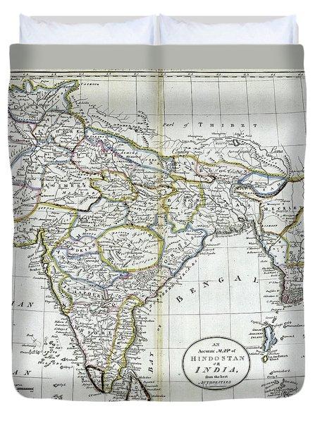 Antique Map Of India   Duvet Cover